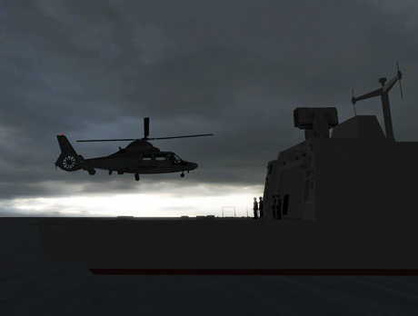 screenshot of helicopter landing at night
