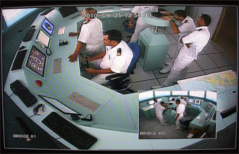 Photo of the CCTV monitor the instructors use to monitor the students